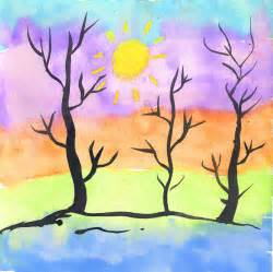 thick and thin trees art projects for kids