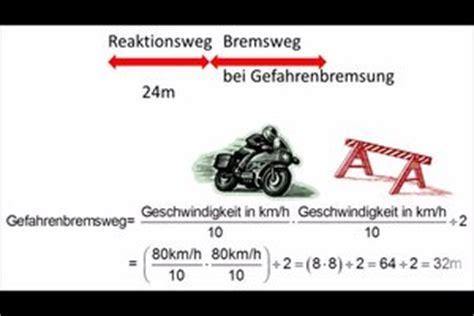 Bremsweg Motorrad by Video Anhalteweg Vom Motorrad Richtig Berechnen