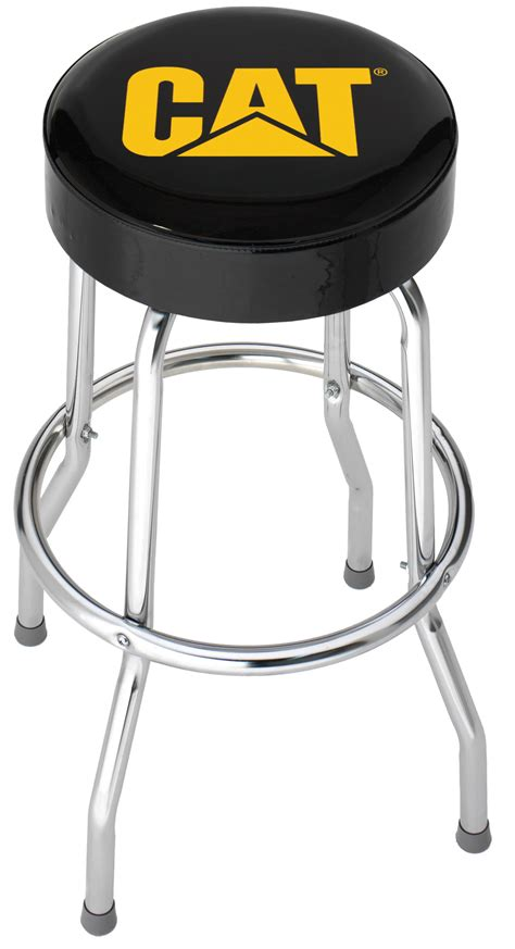 Shop Bar Stool | caterpillar cat chrome plated garage shop bar stool