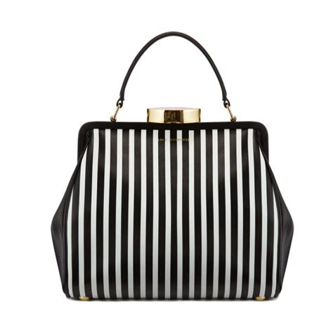 Lulu Guinness Striped Maddy Tote by Lulu Guinness Small Leather Striped Tote Bag Black