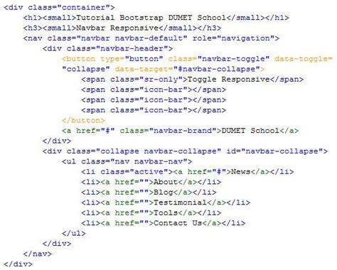 membuat navbar membuat navbar responsive di bootstrap