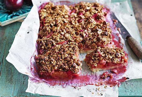 Dessert Slice plum and crumble dessert slice recipe foodiful