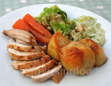roast chicken dinner frolicking foodie