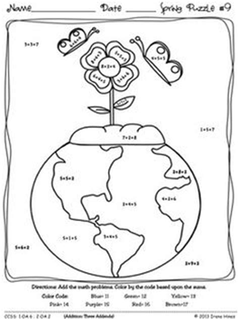 earth day coloring math pages earth day fun 9 math puzzles quot sum quot spring showers