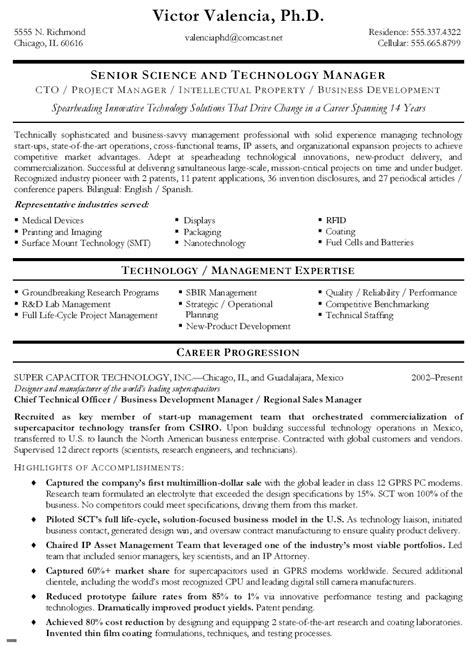 technical resume formats chief technical officer resume