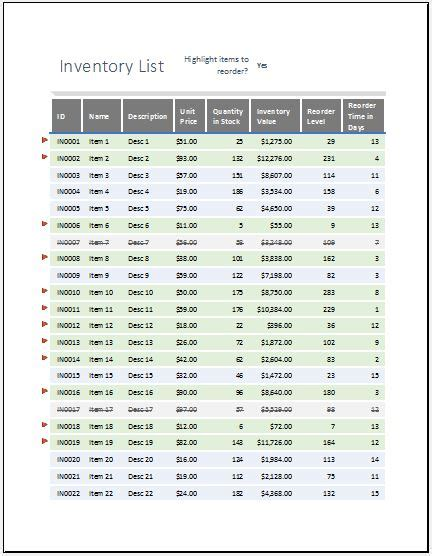 Equipment Inventory List With Reorder As Highlighted Word Excel Templates Inventory Reorder Point Excel Template