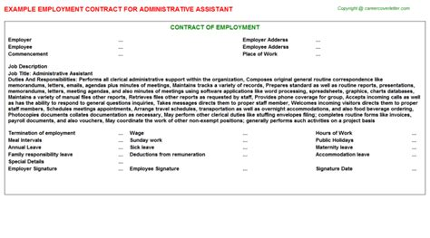 Administrative Assistant Employment Contract And Agreement Administrative Assistant Contract Template