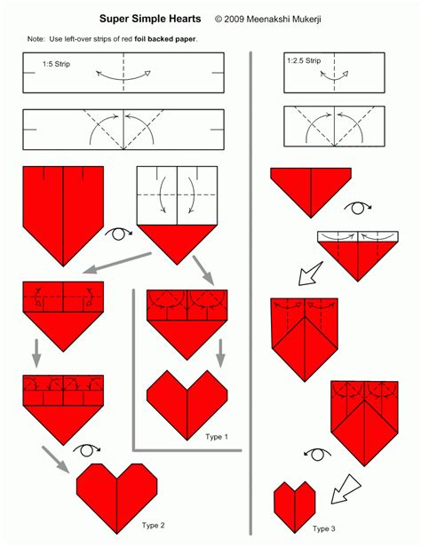 Simple Origami Hearts - web wanderers august 2011
