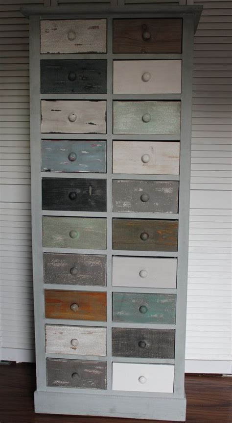 20 Inch Wide Chest Of Drawers Vintage Looking Rustic Coastal Shabby Chic Cabinet