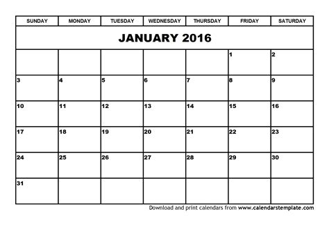 free calendar templates print january 2016 calendar template