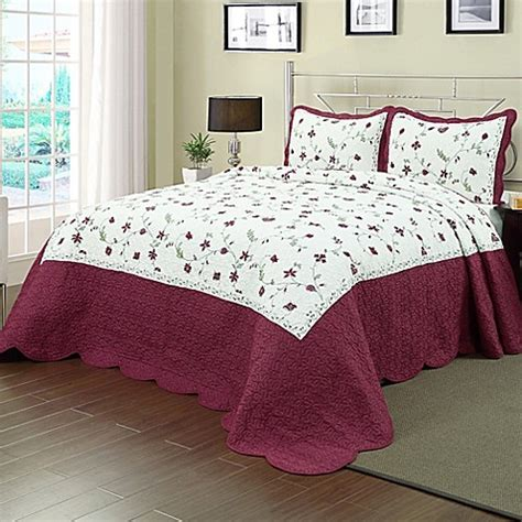 buy enchantment king bedspread in burgundy white from bed bath beyond