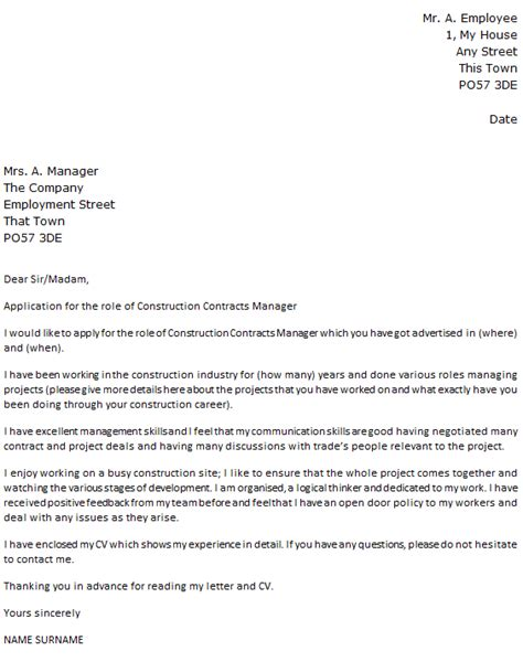 construction contracts manager cover letter exle