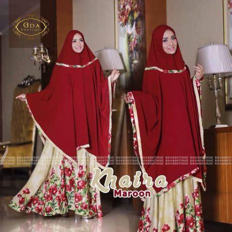 Gamis Khaira Grey Size S M khaira maroon pusat busana gaun pesta muslim modern