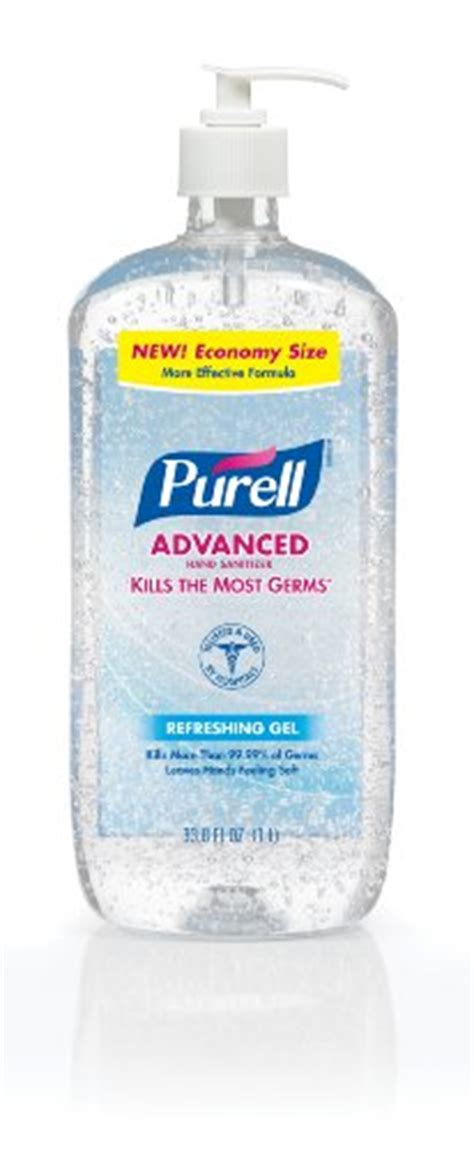 purell advanced hand sanitizer gel refreshing fragrance  liter economy sized sanitizer table