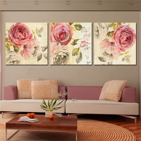 abstract hd canvas prints wall art painting home decor 3 piece wall art abstract painting pink rose flower canvas