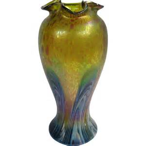 Vase With Feathers Antique Big Austrian Art Glass Iridescent Vase Oil Spots