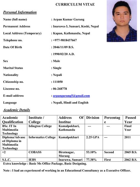 my biodata in my profile guruarpan
