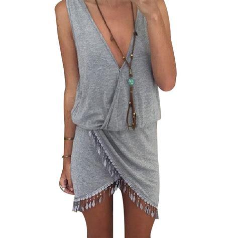 Dress Salur Av 01 casual summer style summer dress 2015 dress fringe tassel dresses grey v neck tulip