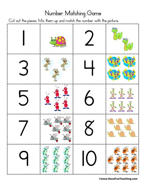 printable numbers matching game number games have fun teaching