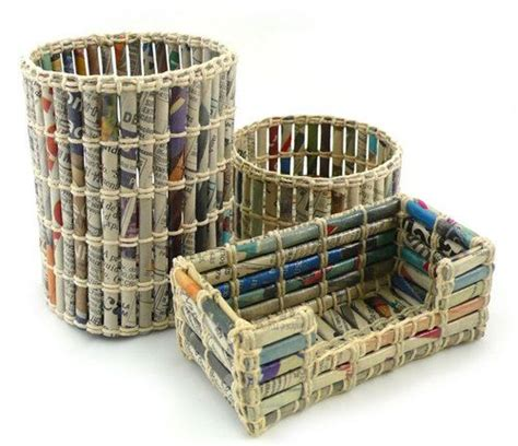 Paper Crafts Recycled Newspaper - recycle your newspaper to make office organizers and paper
