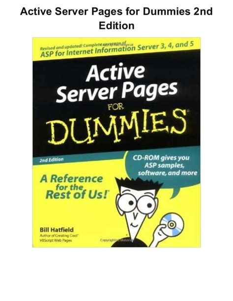 Complete Mba For Dummies 2nd Edition by Active Server Pages For Dummies 2nd Edition Pdf