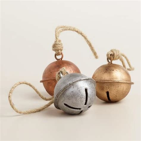 metal jingle bell ornaments set of 3 world market