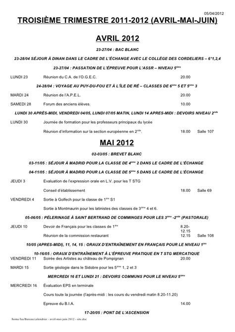 Calendrier Avril 2012 Calendrier Avril Mai Juin 2012 Site