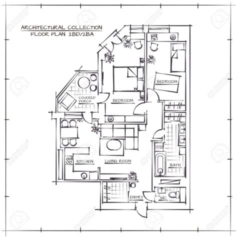 how to draw a floor plan by hand stylish architectural hand drawn floor planthree bedrooms