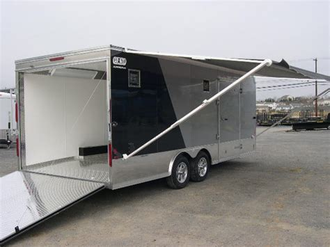 awning for enclosed trailer carmate 8 5 x 20 enclosed car trailer 2 tone black silver