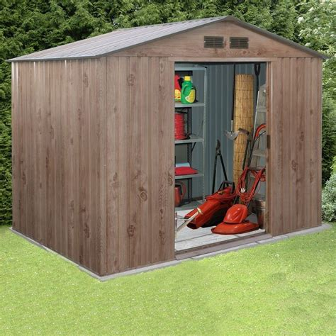 Large Outdoor Storage Sheds by Partner Woodgrain Metal Garden Shed Apex Roof Large Outdoor Storage Shed New Ebay