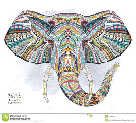 Ethnic Patterned Head Of Elephant Stock Vector - Image ...