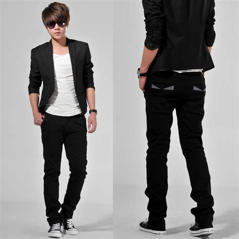 Blazer Zipper Black Resleting Pakaian Pria Slimfit Cowok Baru the gallery for gt korean fashion casual