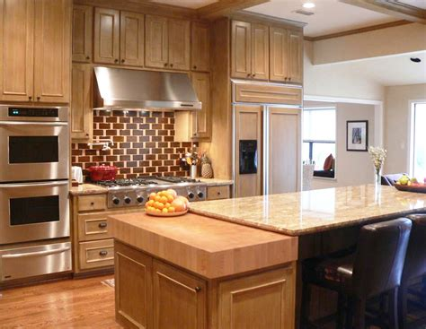 thick maple butcher block countertop kitchen in dallas