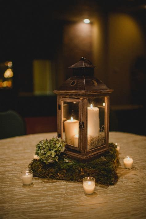 Wooden Lantern Centerpiece With Moss Stand   Home decor