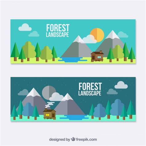 design banner cute flat landscape banners with a cute cabin vector free