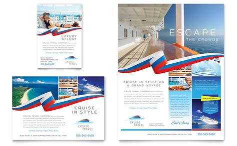 cruise travel flyer ad template design