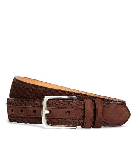 brothers suede woven belt in brown for