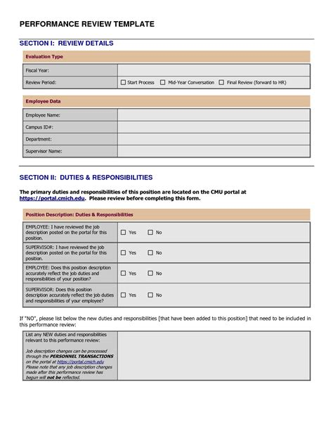 doc 746621 performance review template for managers