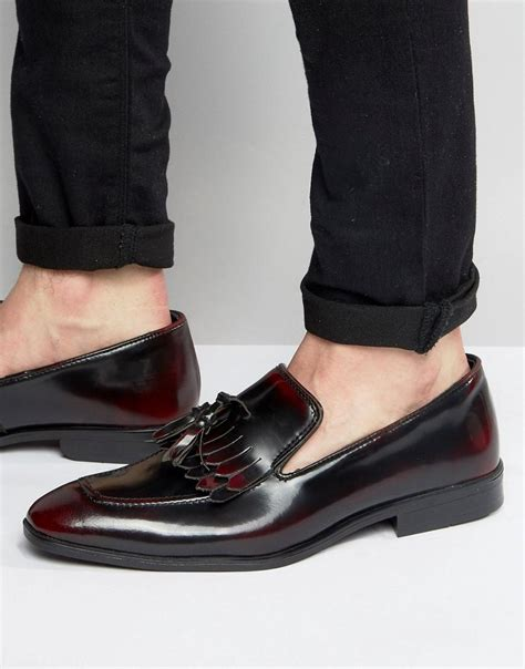 asos fringe loafers in burgundy leather in for lyst