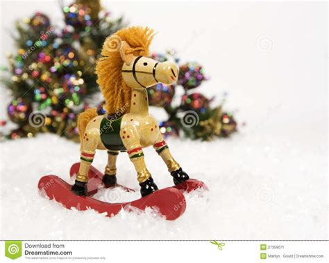 christmas rocking horse stock image image