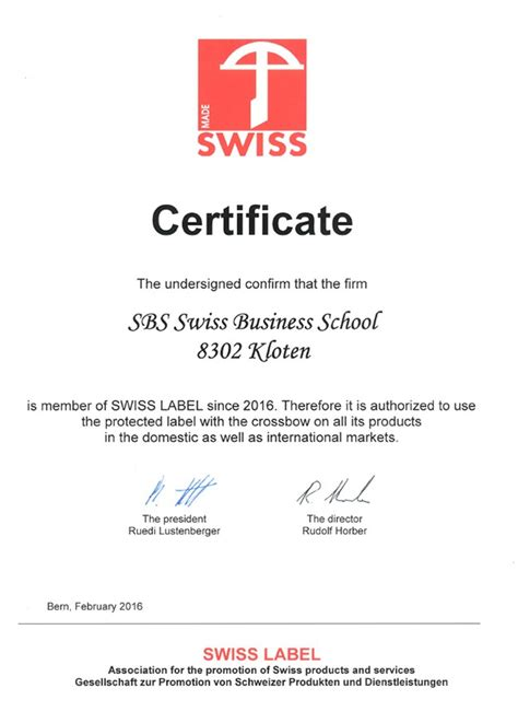 Mba Programs In Switzerland by Swiss Label Certification Sbs Swiss Business School