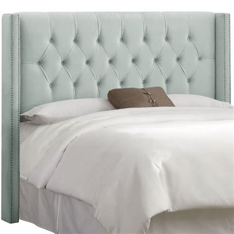 wingback queen headboard skyline upholstered diamond tufted wingback queen
