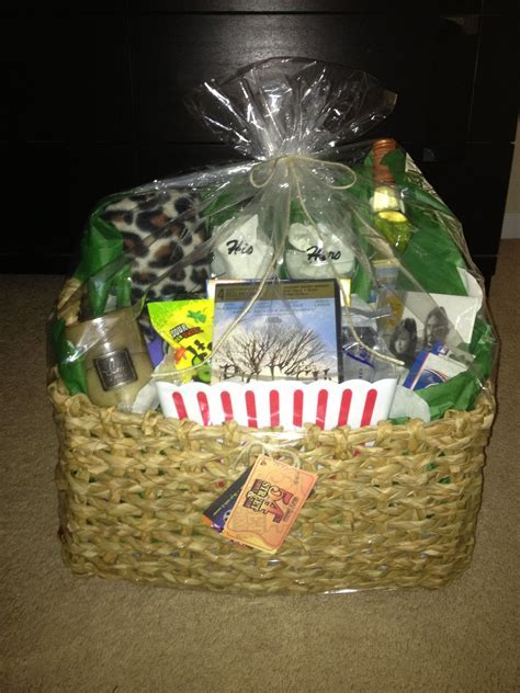 Date night basket I made for a bridal shower gift! Inside