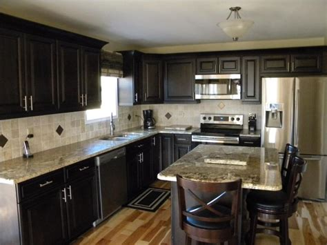 dark kitchen cabinets with dark countertops cabinet lights light granite countertops and dark