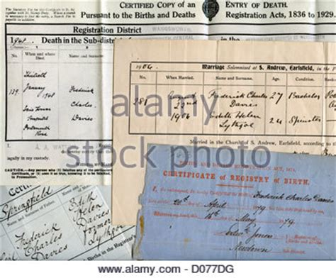 Uk Births Deaths Marriages Records Free Birth And Marriage Certificates Uk Stock Photo Royalty Free Image