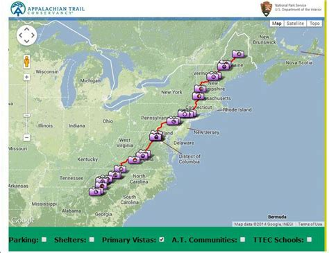 the appalachian trail map interactive map of scenic vistas on the appalachian trail