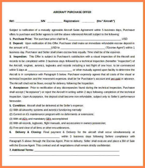 4 Business Purchase Letter Of Intent Template Purchase Aircraft Lease Agreement Template
