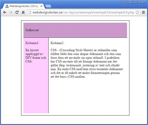 html layouts css condition php webdesignskolan css layout