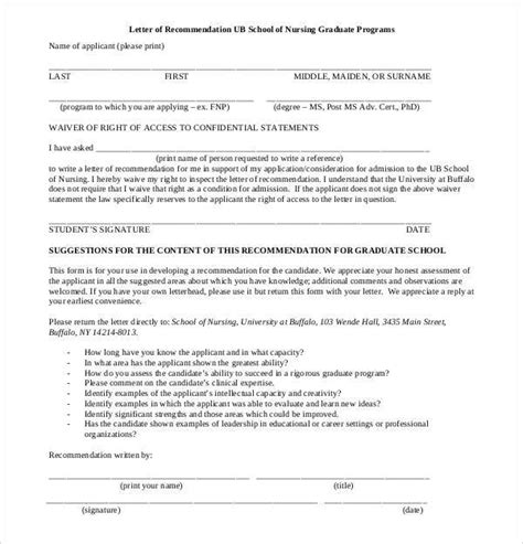 Recommendation Letter For Graduate Nursing Student Letters Of Recommendation For Graduate School 38 Free Documents In Pdf Word