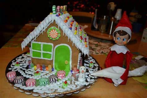 gingerbread house on shelf